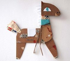 """Horse from the """"paper friends"""" series by Spanish artist Blanca Helga collage. Projects For Kids, Diy For Kids, Crafts For Kids, Arts And Crafts, Cardboard Design, Cardboard Art, Cardboard Animals, Paper Art, Paper Crafts"""