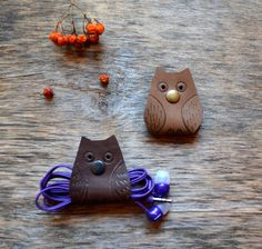 Owl Cord holder cord organizer earbud holder by jewelryleather