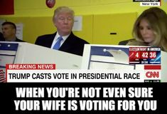 Funny Donald Trump Memes: Donald and Melania Voting///I was actually watching the news and saw him peering over at her screen, there was no privacy. Memes Trump, Caricatures, Donald Trump Pictures, Donald Trump Funny, Trump Cartoons, Political Cartoons, Funny Political Memes, Funny Politics, Political Art