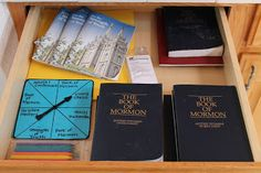 family scripture idea.  spinner w/ Living Christ, Family Proclamation, Book of Mormon, Scripture Mastery.