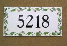 Tile House Number plaque porcelain kiln fired handpainted 7x12.5 Ceramic House Numbers, Tile House Numbers, House Number Plaque, Pottery Houses, Ceramic Houses, House Names, Outdoor Tiles, Address Plaque, Pottery Painting