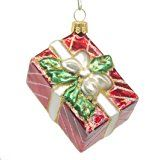 "CDL 4"" Shinny Red Rectangle Present/Gift Holy Leaves Box With Champagne Band Bow Decor With White Lines Traditional/Glitter Christmas Tree Glass Ornaments Hand Painted Blown Glass Gift For Girl G60"