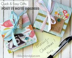 thanks for making God's word in STICK in childrens hearts ---  Super Easy and Pratical Gift- How to make Post It Note Holders.  Prefect Teacher Gift Idea!