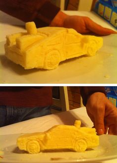 Back to the Future Delorean made out of mashed potatoes