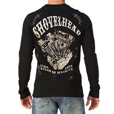 SHOVELHEAD Harley Davidson Engine Vintage MOTORCYCLE BIKER Mens Black T-Shirt Long Sleeve (Medium) *** Visit the image link more details.