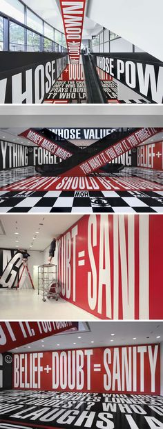 Barbara Kruger, Typography Installation, Hirshhorn Museum lower lobby and escalator, Belief and Doubt -- INSP For Stairwells Barbara Kruger, Environmental Graphic Design, Environmental Graphics, Wayfinding Signage, Signage Design, Design Graphique, Art Graphique, Urban Sport, Hirshhorn Museum