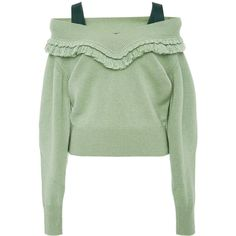 Burberry Cashmere Off The Shoulder Sweater (965 CAD) ❤ liked on Polyvore featuring tops, sweaters, burberry, green, moda operandi, off the shoulder tops, off the shoulder cashmere sweater, pastel sweaters, off the shoulder sweater and long off the shoulder sweater