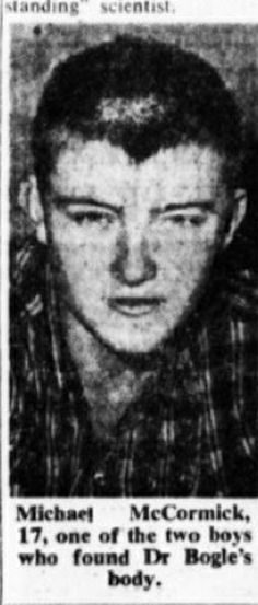 Michael McCormick, 17, one of the two boys who found the body of Dr. Bogle.    From Sydney Morning Herald, 02 Jan 1963.