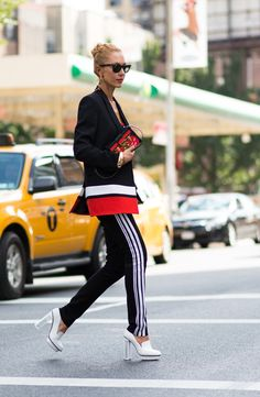 Sporty-chic + a chunky heel: Elina Halimi and more cool street style from NYFW