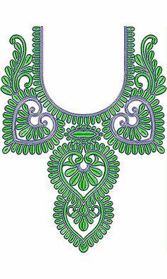 Attractive Embroidered Cording Neck Design