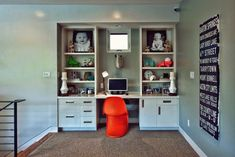 wall unit with desk Kids Contemporary with baseboards built-in desk orange Desk Wall Unit, Bookcase Wall Unit, Built In Wall Units, Built In Desk, Wall Shelves, Bookshelf Desk, Built Ins, Kids Study Desk, Kid Desk