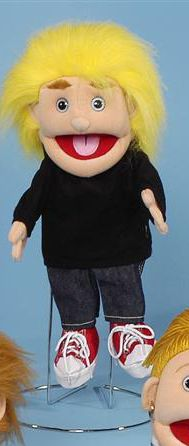 This boy puppet is really fun. He has realistic fuzzy yellow hair. The boy puppet is wearing a black shirt, a pair of blue jeans, and red tennis shoes. Also available with red hair.