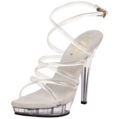 "FABULICIOUS LIP-106 Sexy 5"" High Heels Clear Strappy Prom Sandals Women's Shoes"