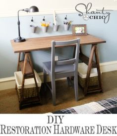 Saw horse desk! With something a little more industrial than baskets, but a great build for Thing3 I think! :-D