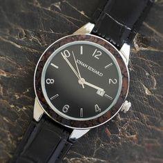 Dinosaur Bone Watch, Metal Wristwatch With Alligator Grain Leather Strap-JE1008-3