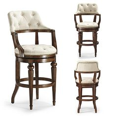 With its plush, button-tufted upholstery and open-back silhouette, Adrian creates an inviting spot for drinks and conversation. Solid wood frame features a    multi-step walnut finish and is accented with handsome nailhead trim.            Solid wood frame                Multi-step walnut finish                Nailhead trim                Lifetime-guaranteed, 360 swivel.