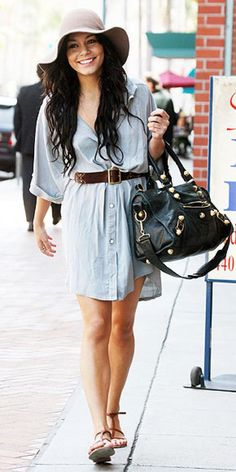 Vanessa Hudgens - Denim Shirt Dress - Ideas of Denim Shirt Dress Estilo Vanessa Hudgens, Vanessa Hudgens Style, Daily Fashion, Boho Fashion, Fashion Dresses, Womens Fashion, Denim Dresses, Fashion Ideas, Fashion Trends