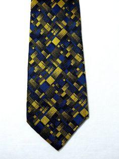3a4b3bcea3 Modernist plaid pattern MISSONI textured silk neck tie - men's formal  accessory - blue black yellow