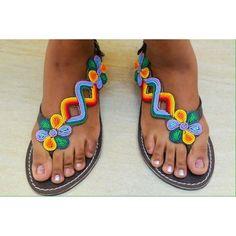 Crisscross side flowered maasai sandal - Urembo Fashion House