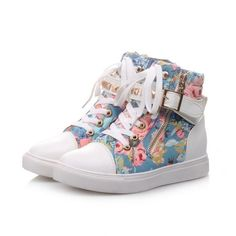 Studded Floral High-Top Sneakers ($45) ❤ liked on Polyvore featuring shoes, sneakers, sapatos, studded high top sneakers, studded sneakers, low heel shoes, hi tops and pink high top shoes