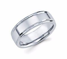 mens 14k white gold wedding band - Mens White Gold Wedding Rings