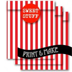 FREE! Printable Red & White Candy Stripe Sweet Bags by Style My Party www.stylemyparty.co.uk