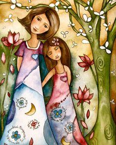Madre e figlia capricciosa foresta di claudiatremblay su Etsy