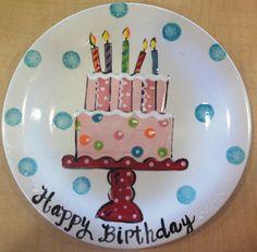 Custom Order 8 Birthday Plate by melaniehewins on Etsy Purple Wedding Cakes, Wedding Cakes With Flowers, Flower Cakes, Gold Wedding, 2 Tier Birthday Cakes, Birthday Plate, Painted Ceramic Plates, Ceramic Painting, Painted Ceramics