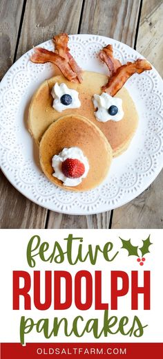 Rudolph Pancakes are a festive Christmas breakfast! Make them on Christmas Eve, Christmas Day, for holiday guests, or anytime during the holiday. So simple and fun! #christmasbreakfast #christmasevebreakfast #holidayrecipes #holidaymenu #christmasrecipes #easychristmasrecipes #rudolph Holiday Cakes, Christmas Desserts, Christmas Recipes, Holiday Recipes, Christmas Things, Christmas Time, Christmas Ideas, Xmas, Fun Food