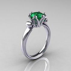 Modern Antique 10K White Gold 1.5 Carat Emerald Solitaire Engagement Ring AR127-10WGEM