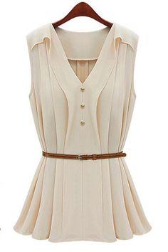 Lady Fashion V Neck Sleeveless Waistband Shirt Top