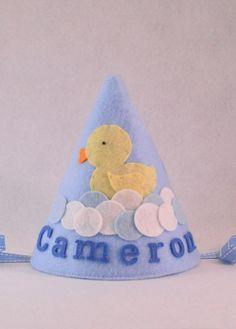 Rubber Duck Party Hat, Felt Party Hat, Personalized, Smash Cake