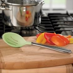 #6883 ::: DEEP SLOTTED SPOON ::: Silicone is heat- and stain-resistant and is molded over the stainless steel for durability.  ::  $34.95   ::  Contact Me With Your Order ::  lynnebeveridge@myprincesshouse.com