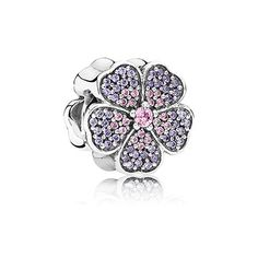 PANDORA | Primrose pave silver charm with pink and purple cubic zirconia