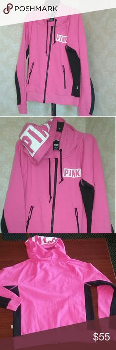 Hooded Jacket with zipper pocket Very Good Condition No Flaws PINK Victoria's Secret Jackets & Coats Jean Jackets