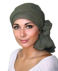 Sombrero de turbante de Gasa de algodón verde oliva jefe