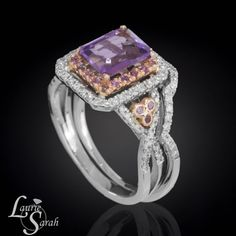 14kt Rose and White Gold Emerald Cut Amethyst Wedding Set with Contoured Diamond Wedding Band - LS3352