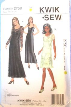 Kwik Sew Misses Dresses and Slip Pattern #2758 Sizes XS S M L XL Uncut #KwikSew