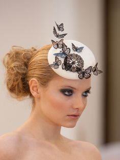 papillons & lace fascinator