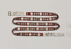 Belt Date: ca. 1330–50 Geography: Made in possibly Genoa, Italy Culture: North Italian Medium: Silver, with traces of gilding and enamel Dimensions: 65 3/8 × 1 5/16 × 9/16 in. (166 × 3.3 × 1.4 cm) Other (waist size): 21 1/16 - 33 7/16 in. (53.5 - 85 cm) Other (width of textile support): 7/8 in. (2.3 cm) Other (From end of belt buckle to change in orientation): 34 1/16 in. (86.5 cm) Other (From end of belt strap to change in orientation): 40 3/16 in. (102 cm)