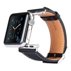 [USD12.28] [EUR11.58] [GBP9.02] Kakapi Metal Buckle Cowhide Leather Watchband with Connector for Apple Watch 38mm(Black)