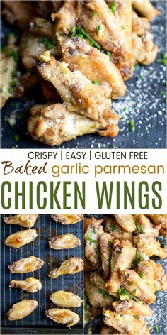 These Crispy Baked Garlic Parmesan Chicken Wings will be the life of the party! Easy chicken wings that are baked for a healthier option then tossed in a mouthwatering garlic parmesan sauce! The perfect party appetizer or game day recipe! Baked Garlic Parmesan Chicken, Crispy Baked Chicken Wings, Fried Chicken, Chicken Appetizers, Appetizer Recipes, Garlic Chicken Wings, Chicken Legs, Chicken Breasts, Chicken Wing Recipes