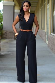 Black Casual Belted V Neck Long Pants Jumpsuit For Women - Outfit Ideen Rompers Women, Jumpsuits For Women, Fashion Jumpsuits, Womens Jumpsuits Formal, Jumpsuits And Rompers, Playsuits, Mode Outfits, Fashion Outfits, Fashion Clothes