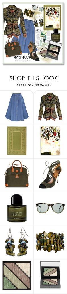 """ROMWE: Serene Green."" by tjclay3 ❤ liked on Polyvore featuring Etro, Safavieh, Oliver Gal Artist Co., Bric's, Sergio Rossi, Byredo, Oliver Peoples, Mixit, Burberry and denim"
