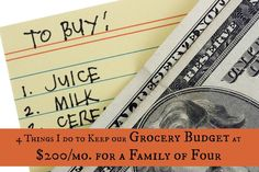 Four things that help us keep our grocery spending at just $200 a month for our family of 4. Practical advice that will benefit any budget! grocery budgets
