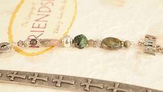 Shepherds Hook Bookmark Glass beads Silver Charm by CKDesignsUS, $10.50