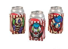 12 HALLOWEEN Party Favors BIG TOP TERROR Evil CLOWN Drink CAN COVERS Koozies #FX