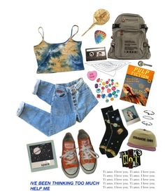 """not a joke"" by uxly ❤ liked on Polyvore featuring Converse, CASSETTE, Kelly Wearstler, Polaroid and Hot Topic"