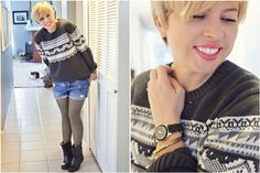 mom style, 5 friday confessions, men's fair isle sweater, shorts, tights, boots