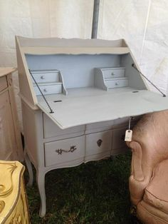 Old Painted Gray Secretary Desk